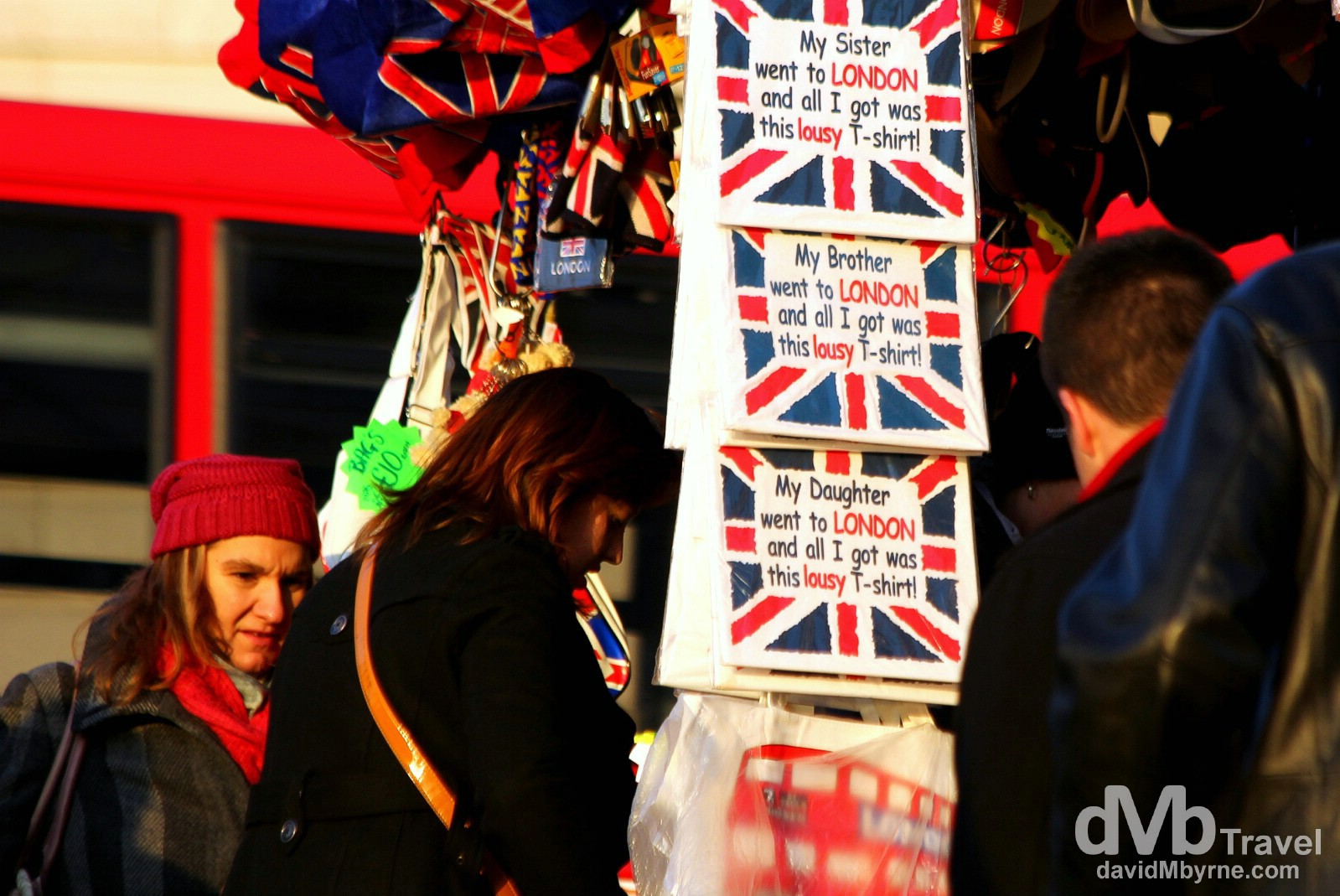 A souvenir stall near Westminster Bridge over the Thames River in London, England. December 8th 2012.