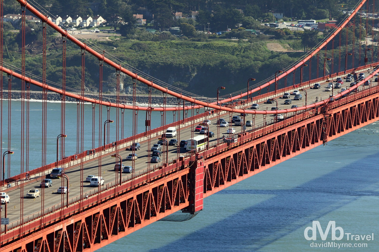 Traffic on the central span of the Golden Gate Bridge as seen from Battery Spencer, Marin Headlands, San Francisco, California, USA. April 9th 2013.