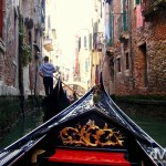 A gondola ride along the canals of Venice, Veneto, Italy. August 27th, 2007.