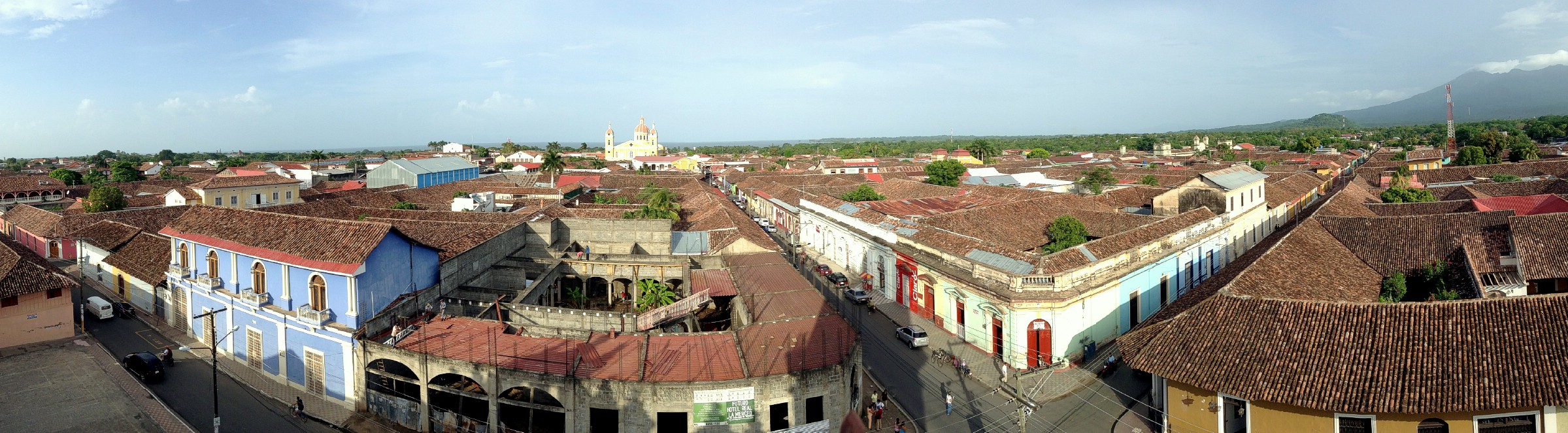 An iPod panorama of Granada as seen from the bell tower of Iglesia de la Merced, Granada, Nicaragua. June 18th 2013.