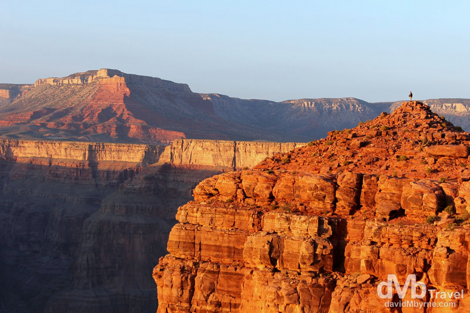 Sunset from a perilous position at Eagle Point, The Grand Canyon West, Arizona, USA. April 6th 2013.