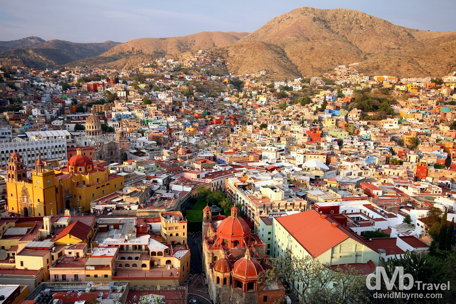 The city of Guanajuato, Mexico, approach sunset as seen from Panoromica overlooking the city. April 23rd 2013.