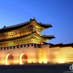 Dusk at the South Gate (Gwanghwamun) of Gyeongbok Palace, Seoul, South Korea. February 7, 2012.