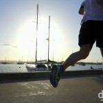 Running on Harbour Drive in San Diego, California, USA. April 16th 2013.