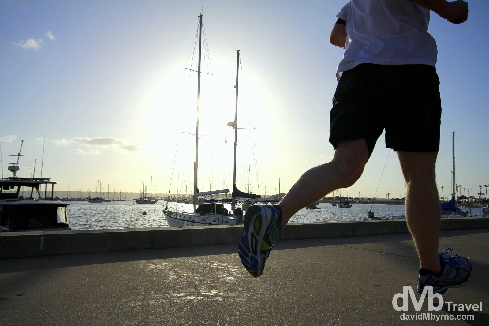 Running on Harbor Drive in San Diego, California, USA. April 16th 2013.