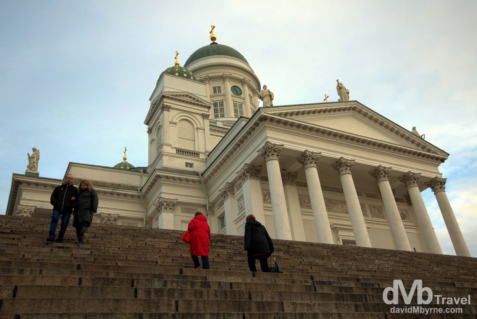 People on the steps to Helsinki Cathedral in (Senaatintori) Senate Square, Helsinki, Finland. November 24th 2012.