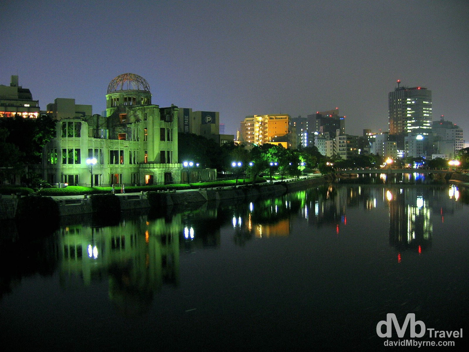 The A-Bomb dome as seen from the T-bridge over the Aioi River in Hiroshima, Honshu, Japan. July 22nd 2005.