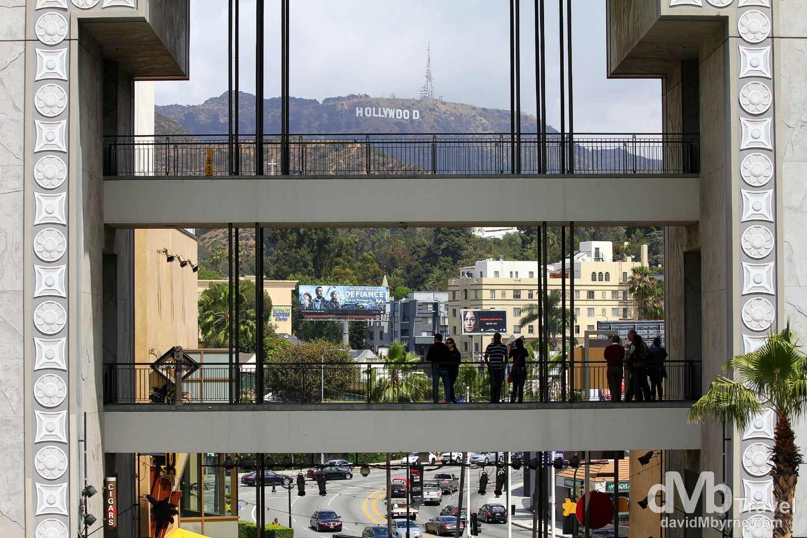 Viewing the Hollywood Sign from the walkways at the Hollywood & Highland Center, Hollywood Boulevard, Los Angeles, California, USA. April 15th 2013.
