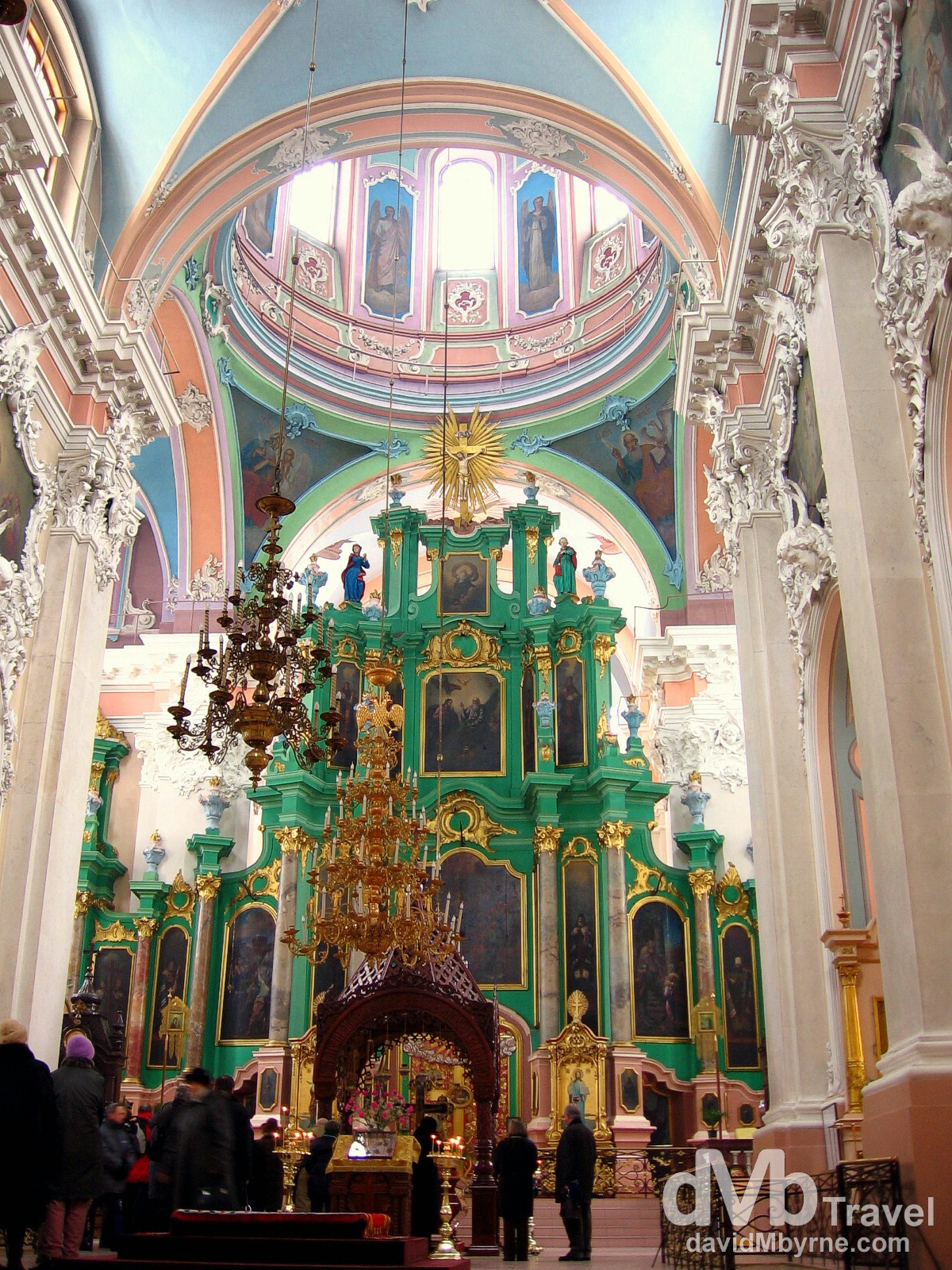 The exquisite detail & the multitude of colours inside the Russian Orthodox Church of the Holy Spirit, Lithuania's chief Russian Orthodox church, Old Town, Vilnius, Lithuania. March 4th 2006