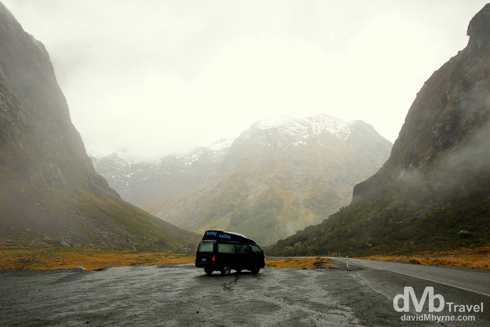 A camper van parked outside the eastern entrance to the Homer Tunnel in Fiordland, South Island, New Zealand. May 26th 2012.