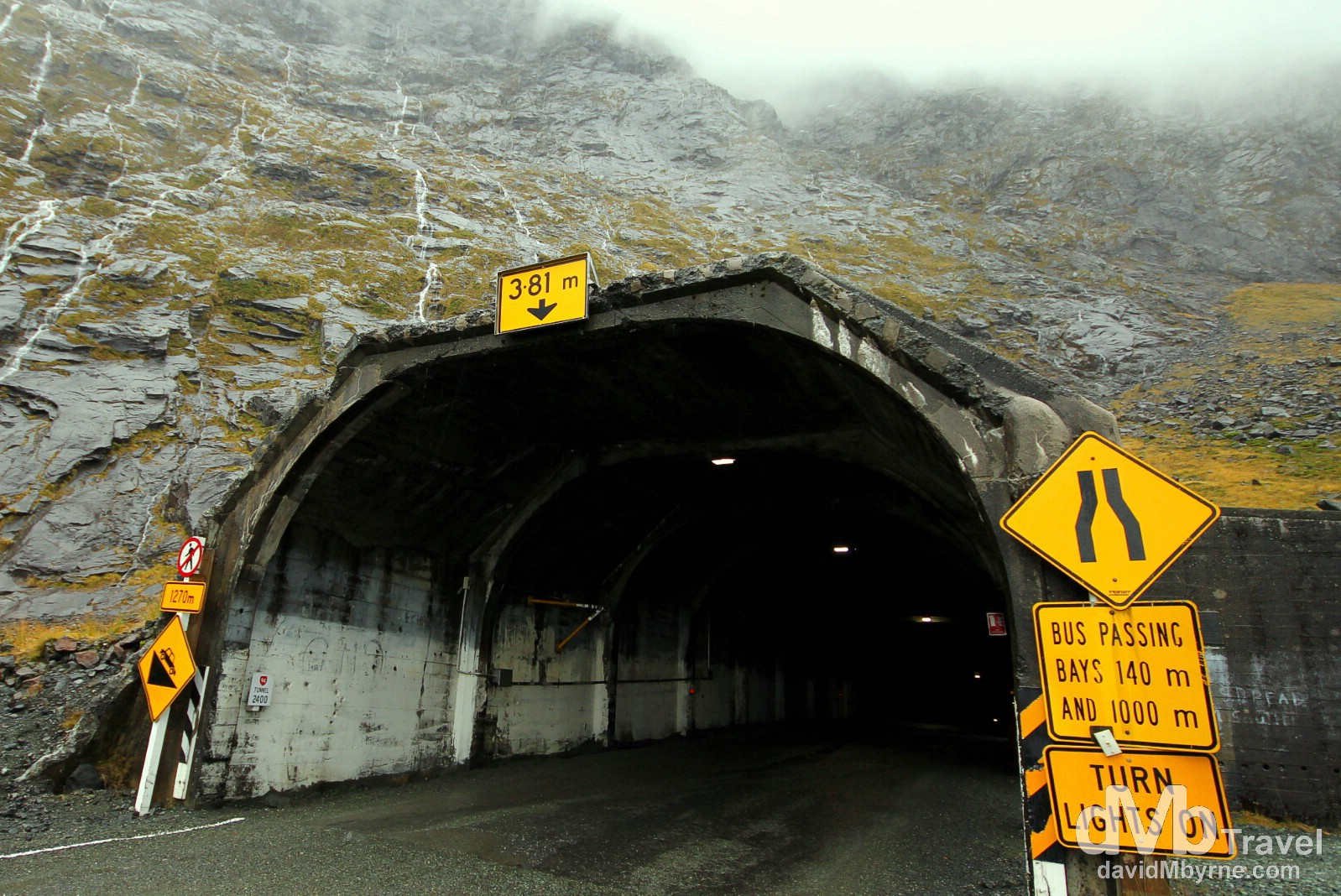 The eastern entrance to the 1.3km Homer Tunnel on State Highway 94, South Island, New Zealand. May 26th 2012.