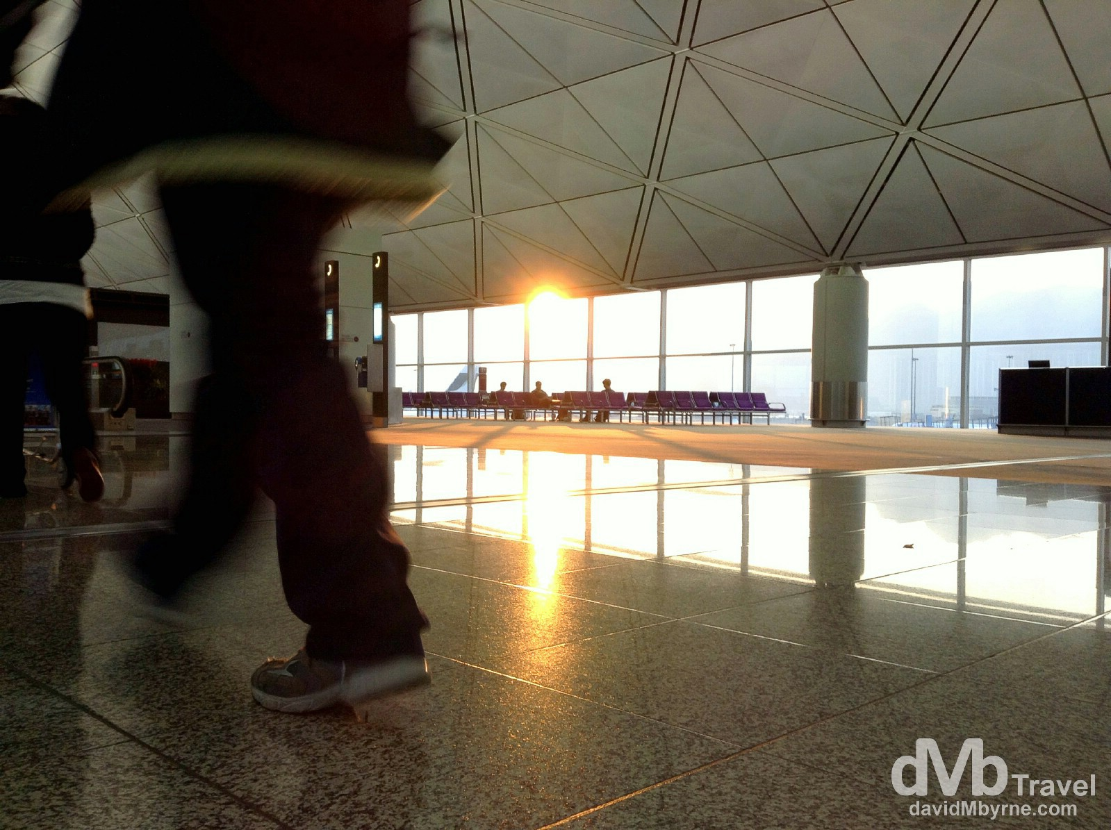 Sunrise as seen from a transit lounge in Hong Kong International Airport en route to Seoul, South Korea. January 17th 2013 (iPod)