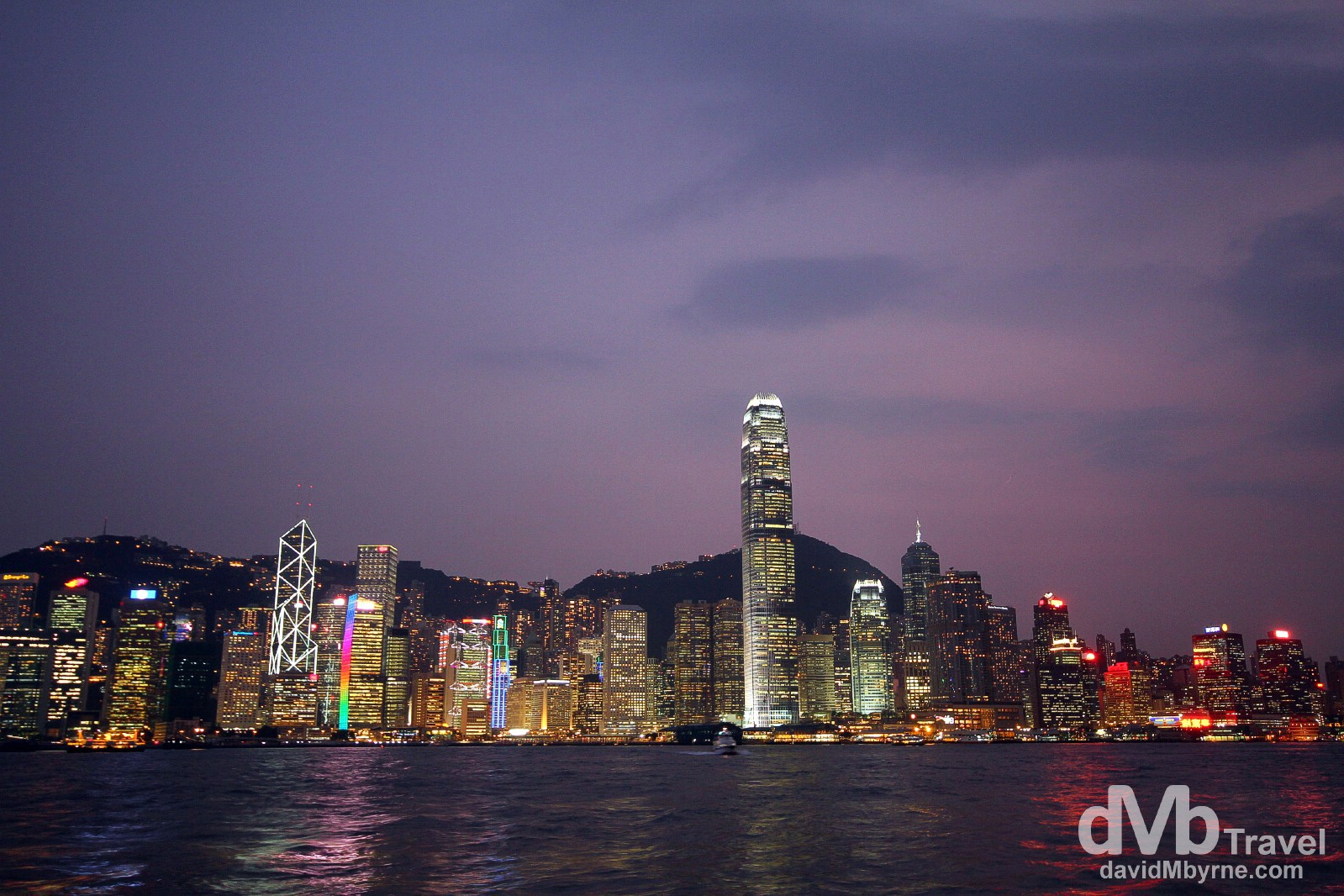 The skyline of Central Hong Kong as seen from across Victoria Harbour in Kowloon shortly after dusk. Hong Kong, China. October 17th 2012.