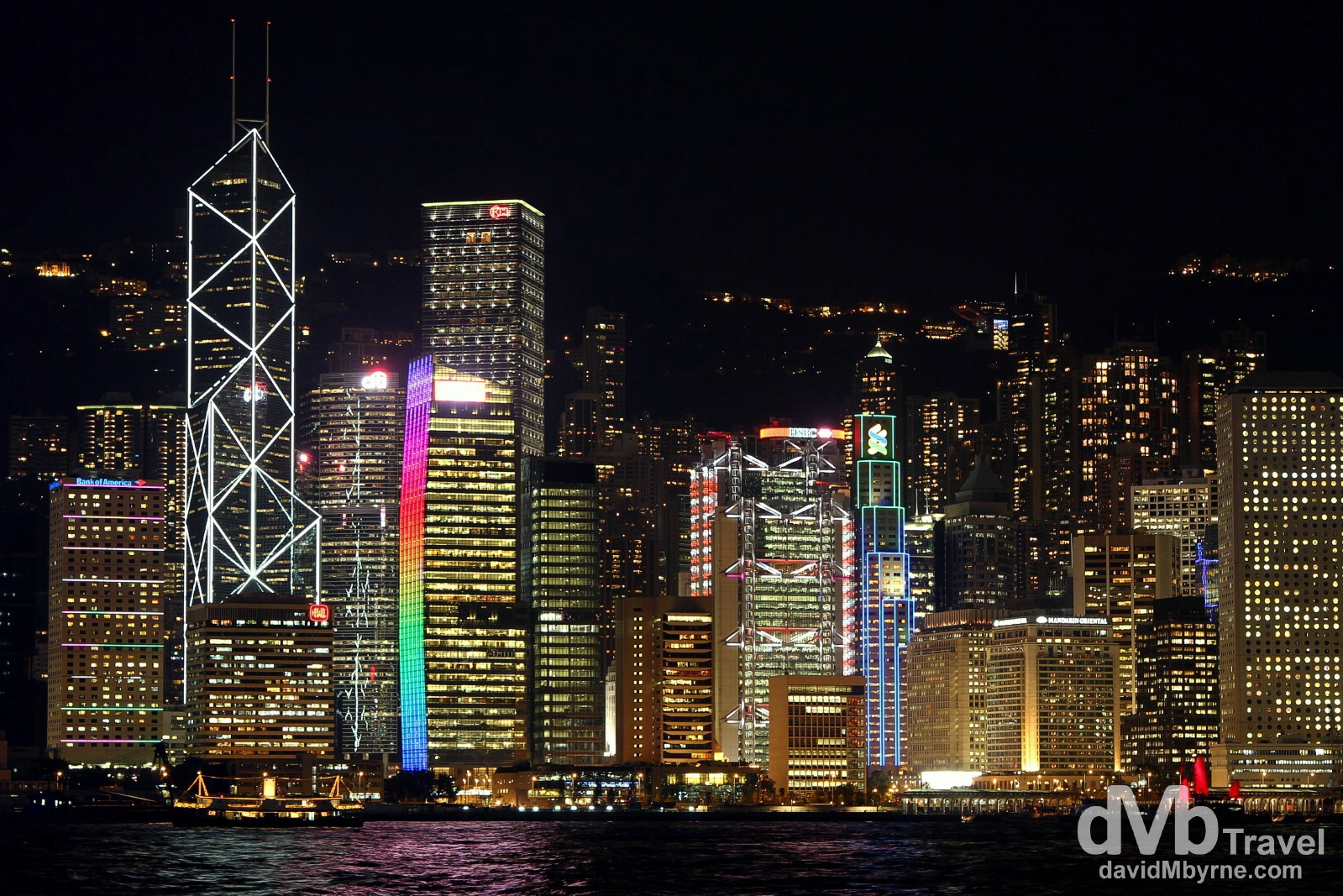 The Hong Kong Money Shot #1: The neon skyline of Central Hong Kong as seen from across Victoria Harbour in Kowloon. Hong Kong, China. October 17th 2012.
