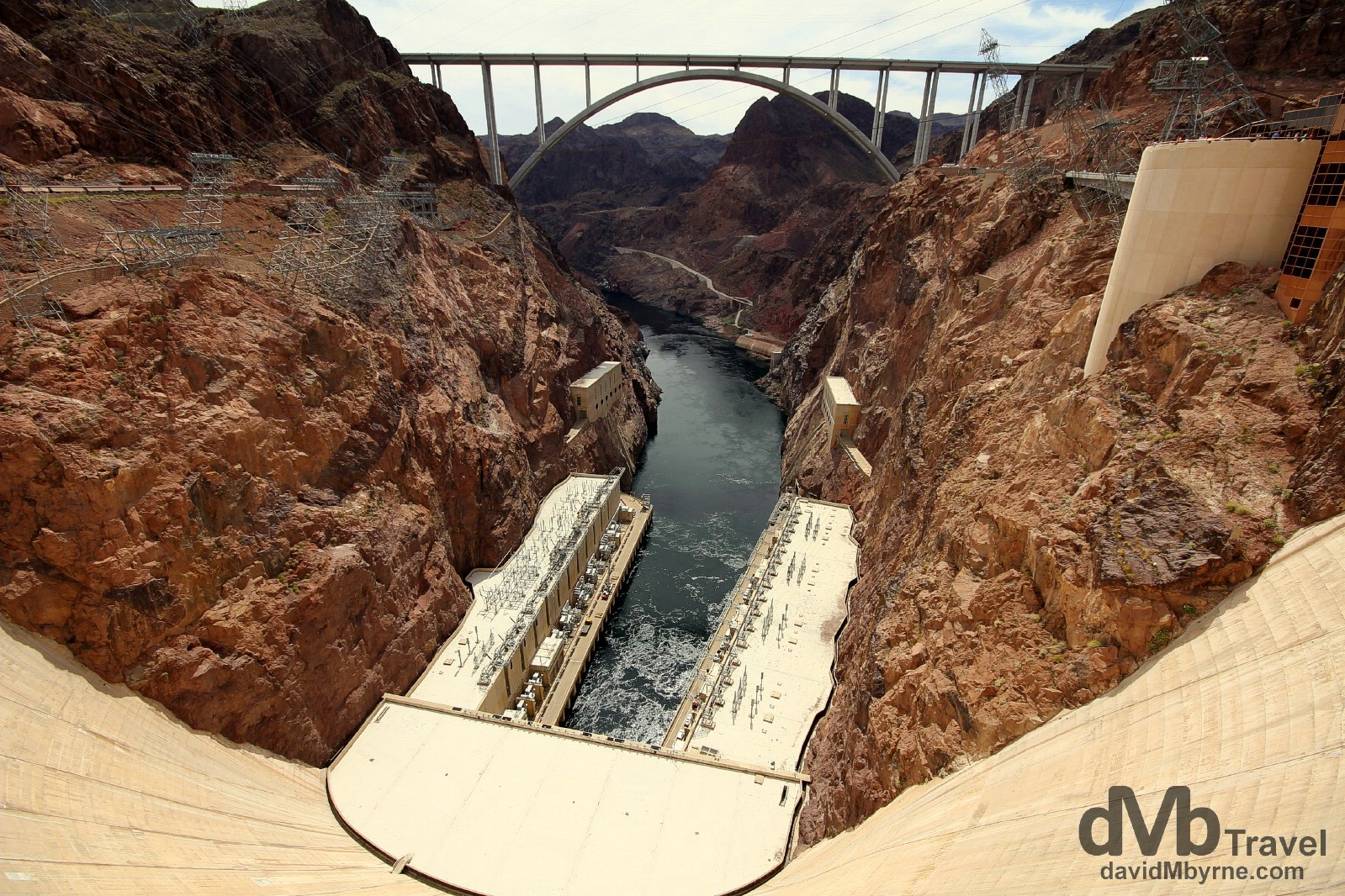 The new Mike O'Callaghan-Pat Tillman Memorial Bridge spanning the Black Canyon as seen from the apex of the Hoover Dam on the Nevada (right) & Arizona (left) border, USA. April 6th 2013.