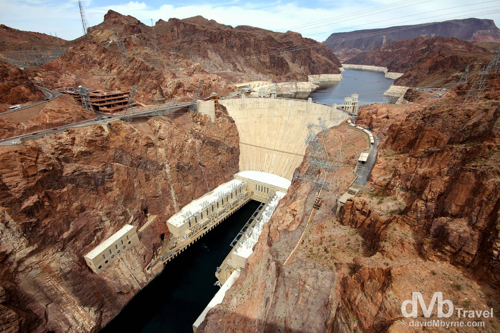 The Hoover Dam as seen from the new Mike O'Callaghan-Pat Tillman Memorial Bridge. On the Nevada (left) & Arizona (right) border, USA. April 6th 2013.