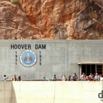 People atop The Hoover Dam on the Nevada & Arizona border, USA. April 6th 2013.