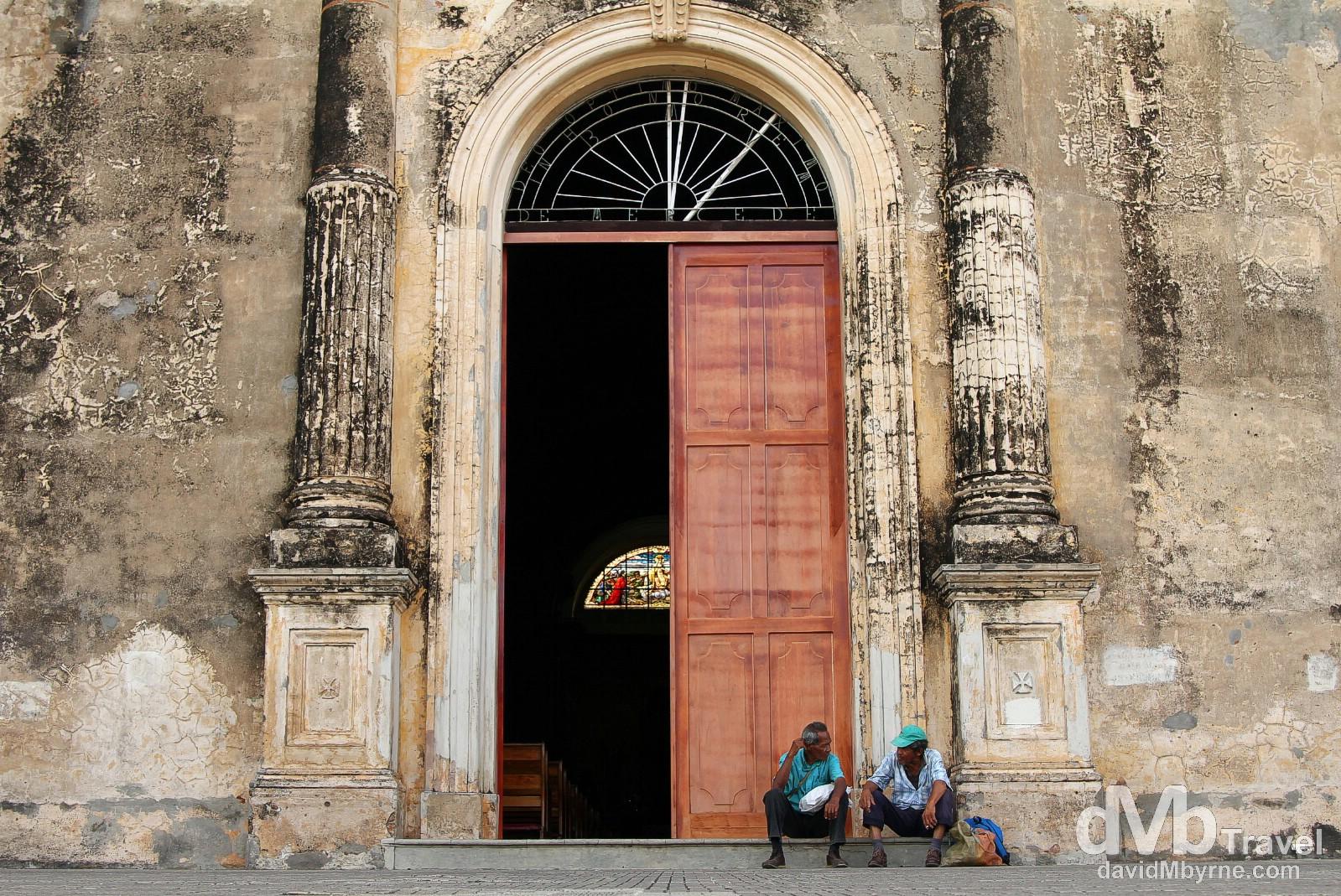 Sitting outside the 1539 Iglesia de la Merced, Granada, Nicaragua. June 18th 2013.