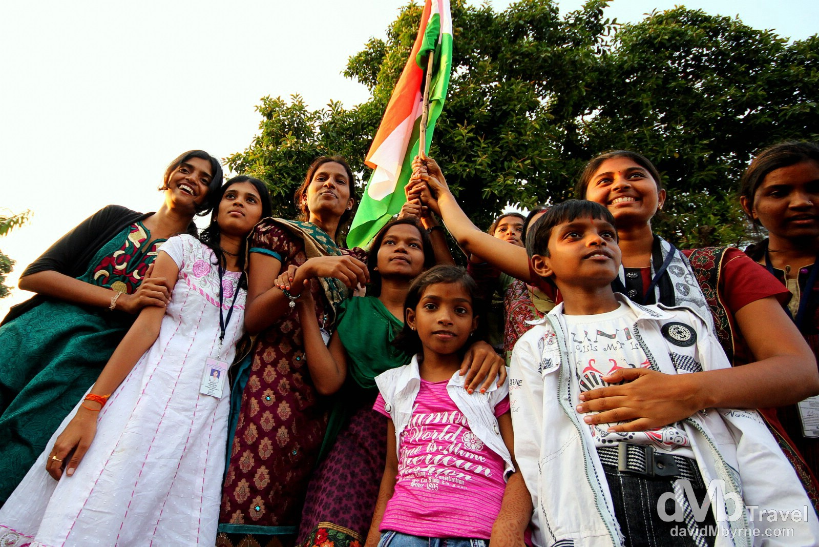 Patriotic Indians on the Indian side of the India-Pakistan border enjoying the atmosphere ahead of the sunset border closing ceremony. October 9th 2012.