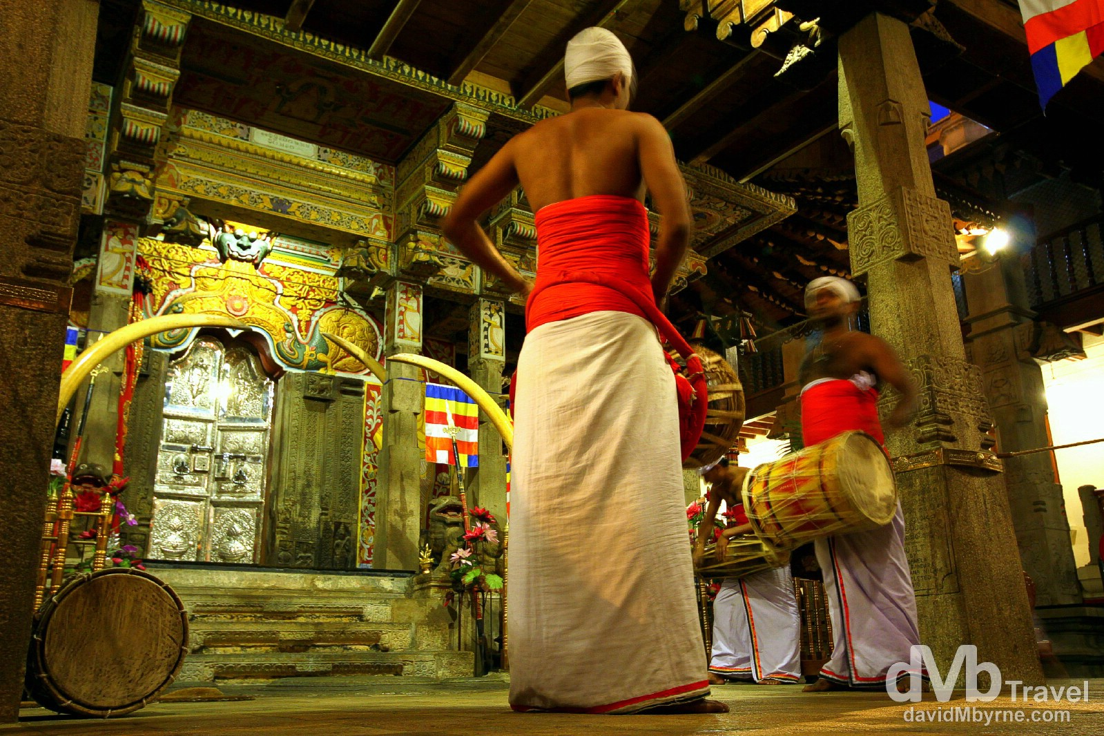 Inside the Temple of the Sacred Tooth Relic, Kandy, Sri Lanka. September 8th 2012.