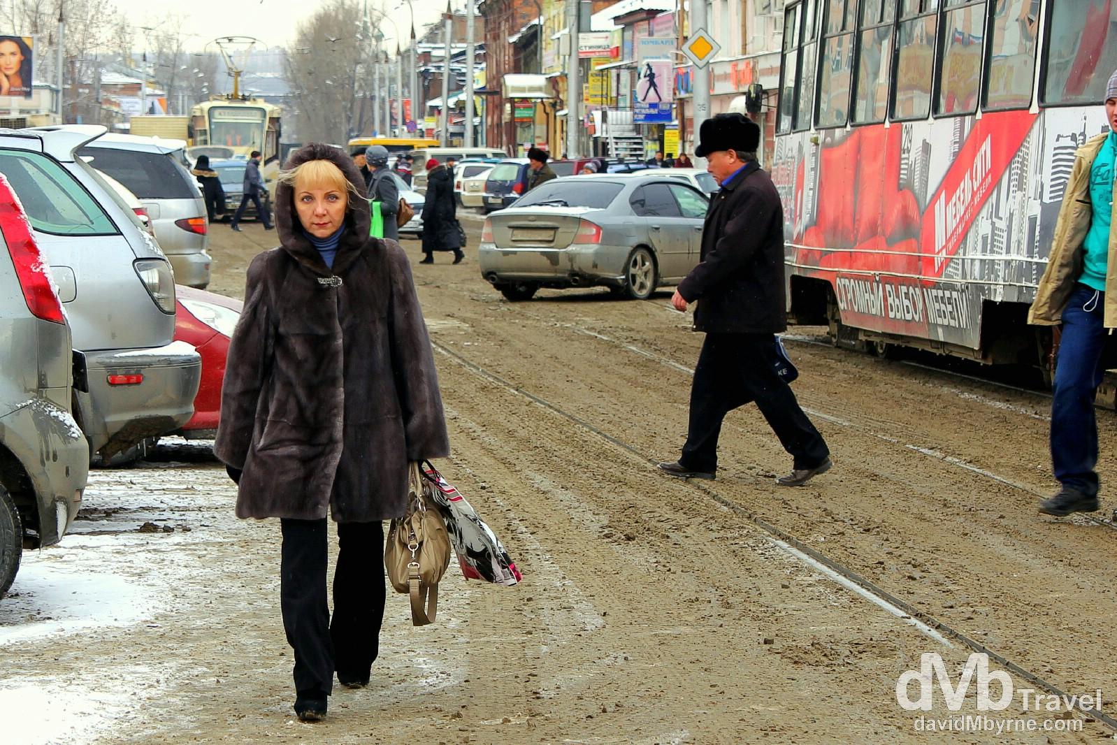 Walking in the slush near Central Market in Irkutsk, Siberian Russia. November 8th 2012.
