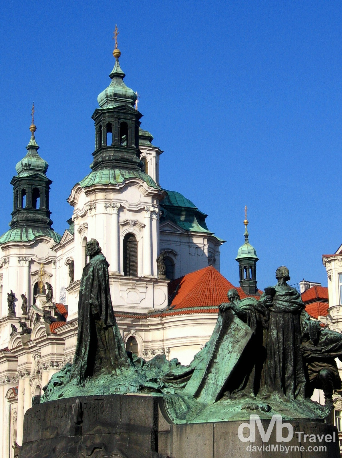 The Jan Hus Statue in the centre of the Old Town Square, Prague, Czech Republic. March 8th 2006