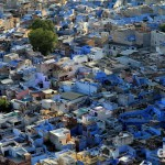Jodhpur, The Blue City, as seen from the walls of Meherangarh Fort. Jodhpur, Rajasthan, India. October 6th 2012.