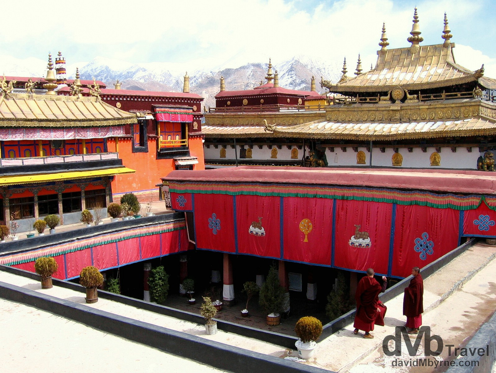 Young Buddhist Monks on the roof of the Jokhang Temple. Lhasa, Tibet. February 27th 2008.