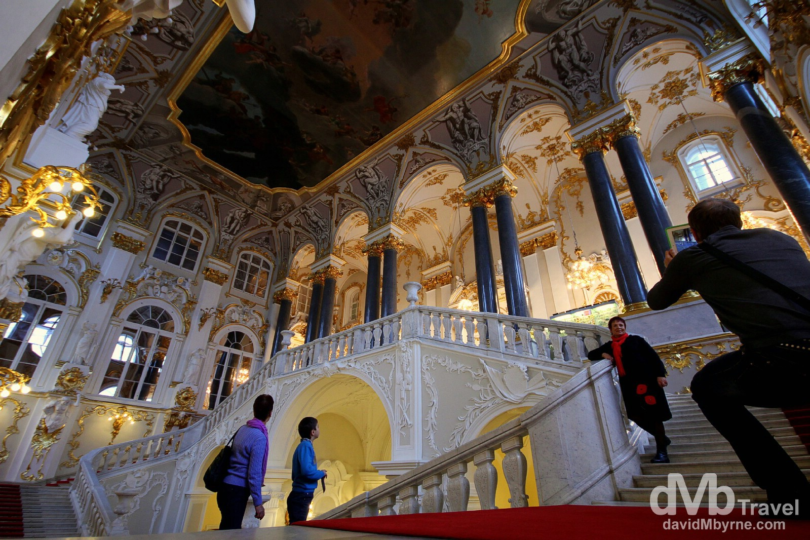 People on the Jordan Staircase of the Winter Palace, St Petersburg, Russia. November 22nd 2012.