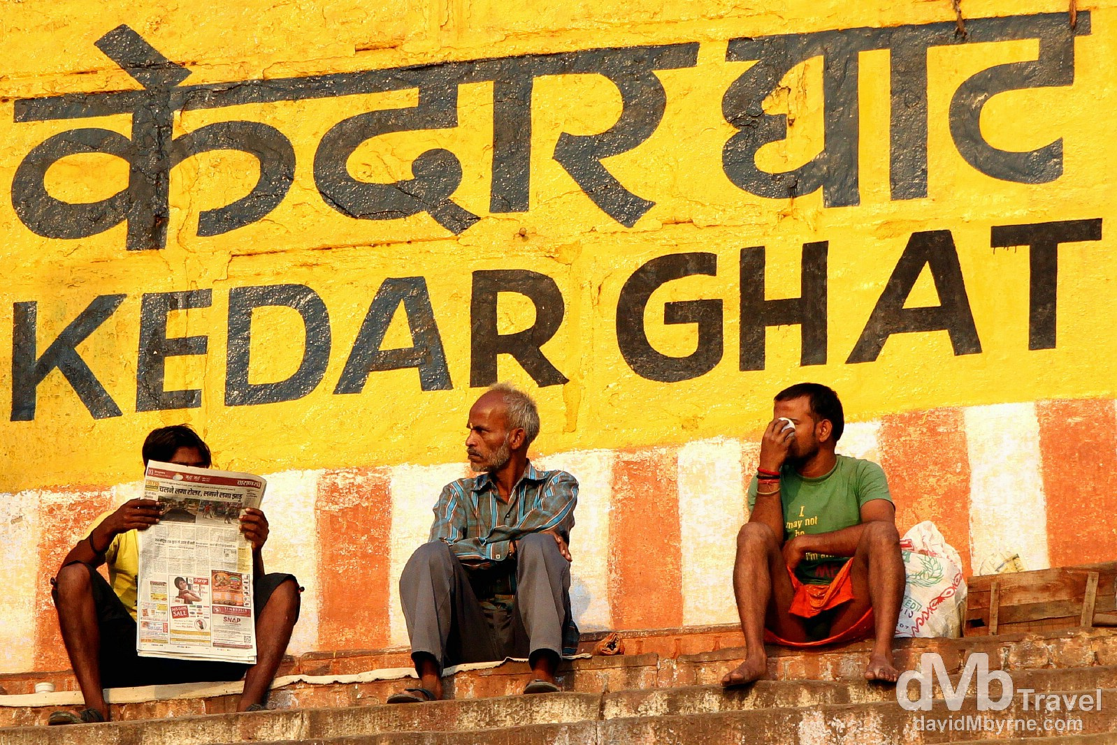 Sitting by the Kedar Ghat by the River Ganges in Varanasi, Uttar Pradesh, India. October 14th 2012.