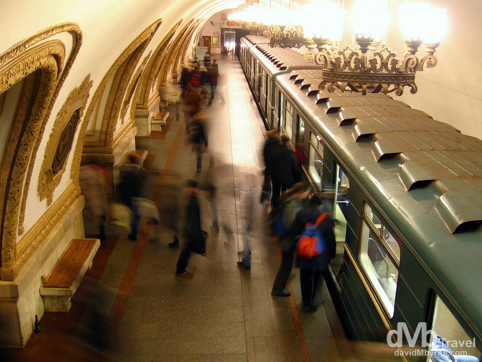 Kievskaya subway station, Moscow, Russia, as captured from an elevated overpass connecting neighbouring platforms. February 25th 2006.