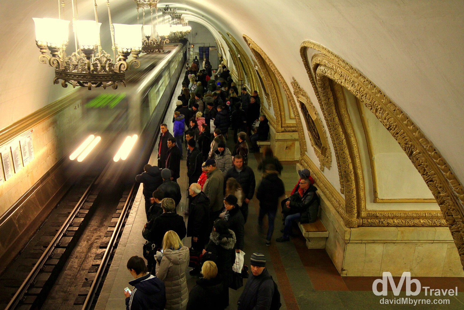 A train entering Kievskaya Metro Station of the Moscow Metro system, Moscow, Russia. November 20th 2012.