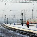 On the platform of Krasnoyarsk train station, Siberian Russia. November 10th 2012.