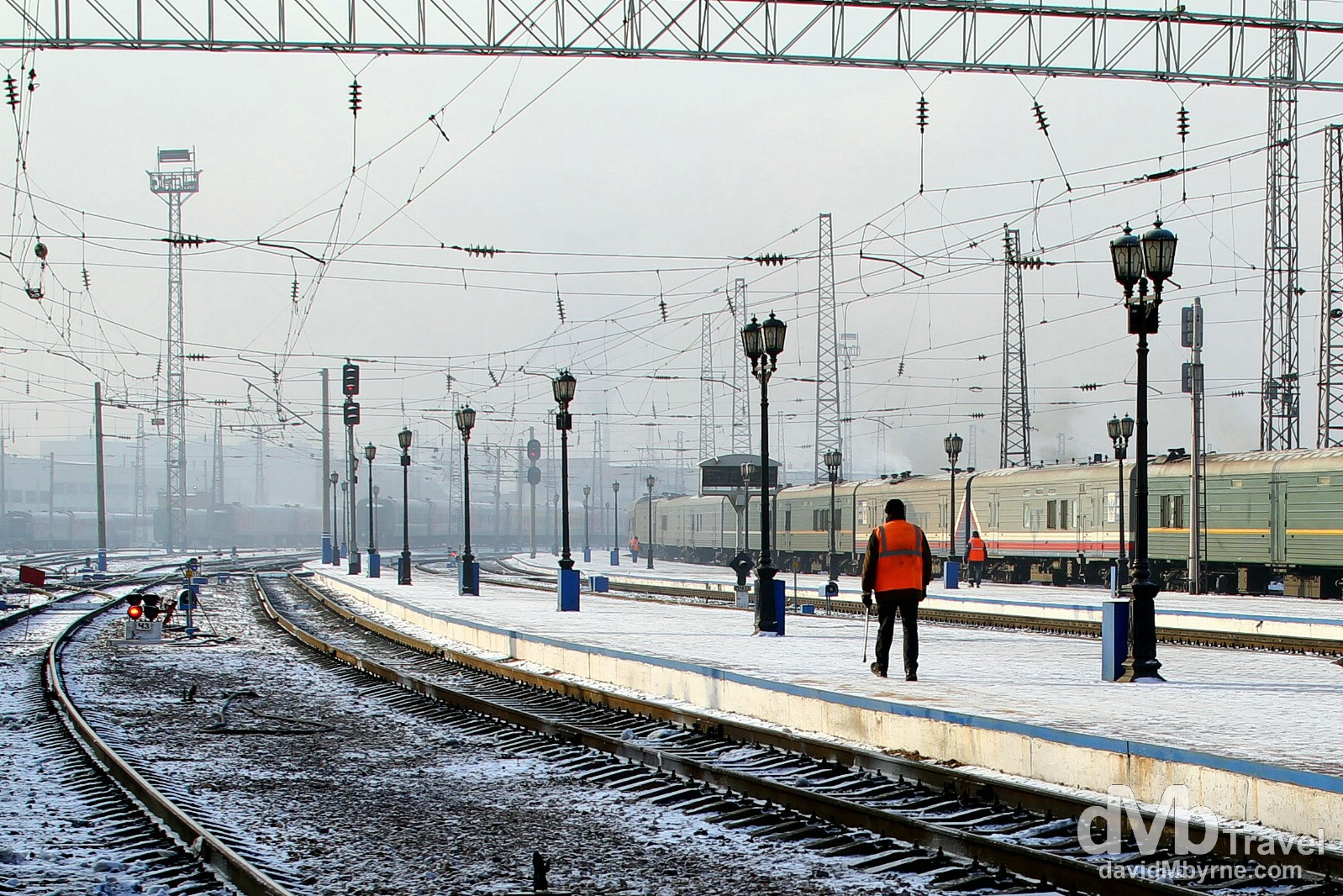 On the platform of Krasnoyarsk train station, Siberian Russia. November 10th 2012.