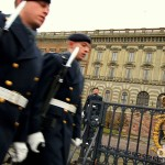 Ceremonial guards outside Kungliga Slottet (the Royal Palace), Stockholm, Sweden. November 26th 2012.