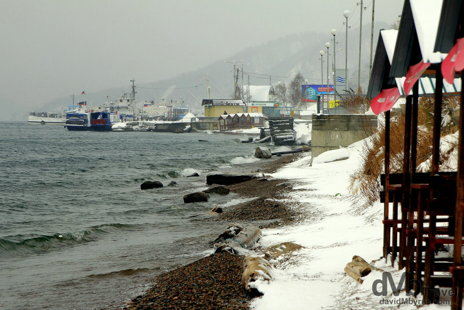 A wintry day on the shores of Lake Baikal from the village of Listvyanka, Irkutsk Oblat, Russia. November 9th 2012.