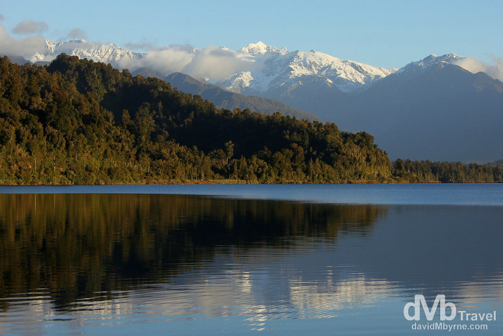 The Southern Alps as seen from the shores of Lake Mapourika, South Island, New Zealand. May 18th 2012.