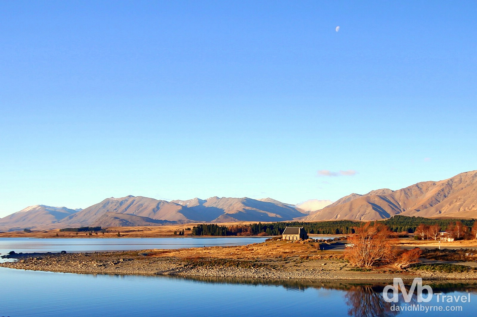 The Church of The Good Shepherd bathed in late afternoon sunlight on the shores of Lake Tekapo, South Island, New Zealand. May 31st 2012.