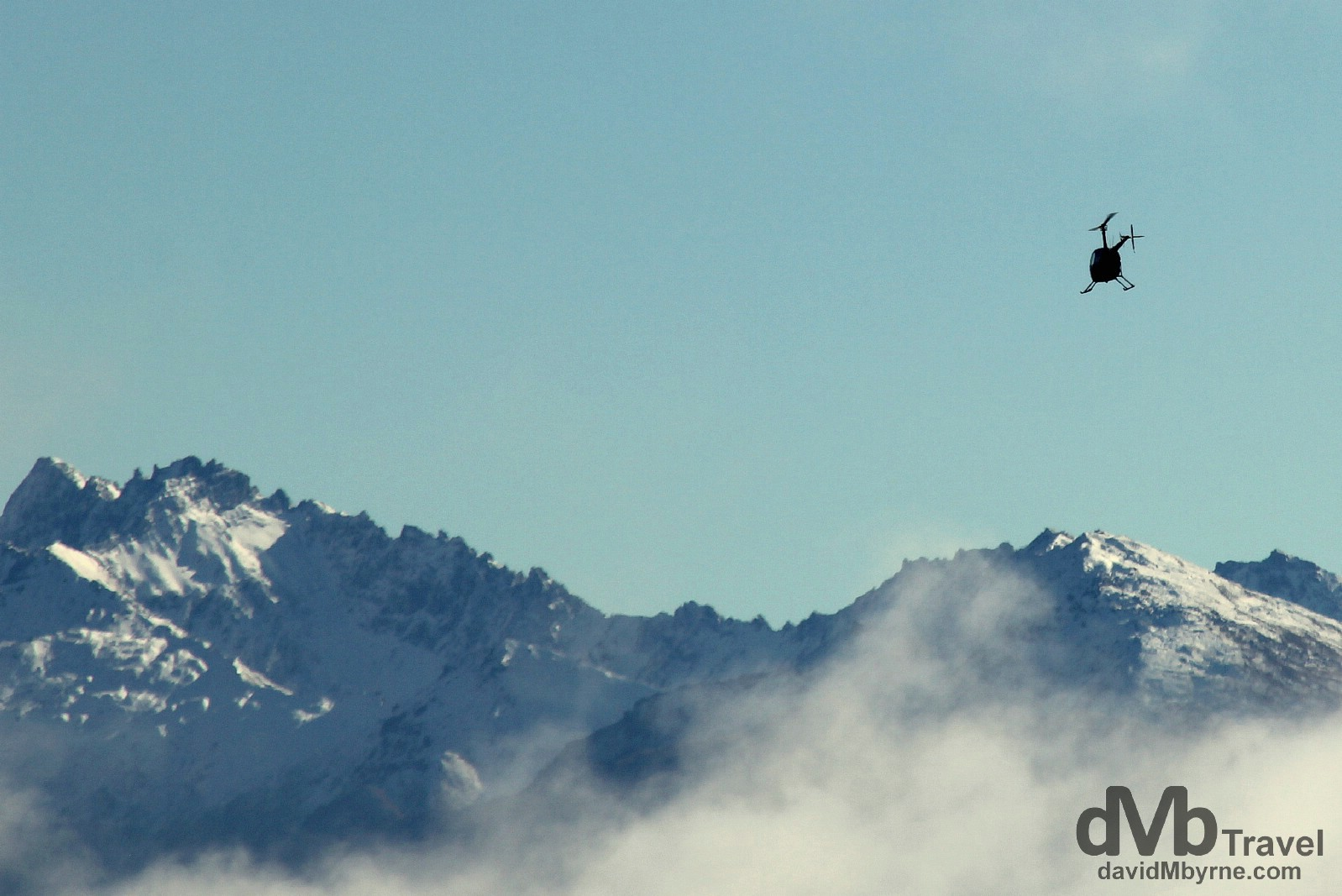 A helicopter leaving Wanaka airport, South Island, New Zealand. May 22nd 2012.