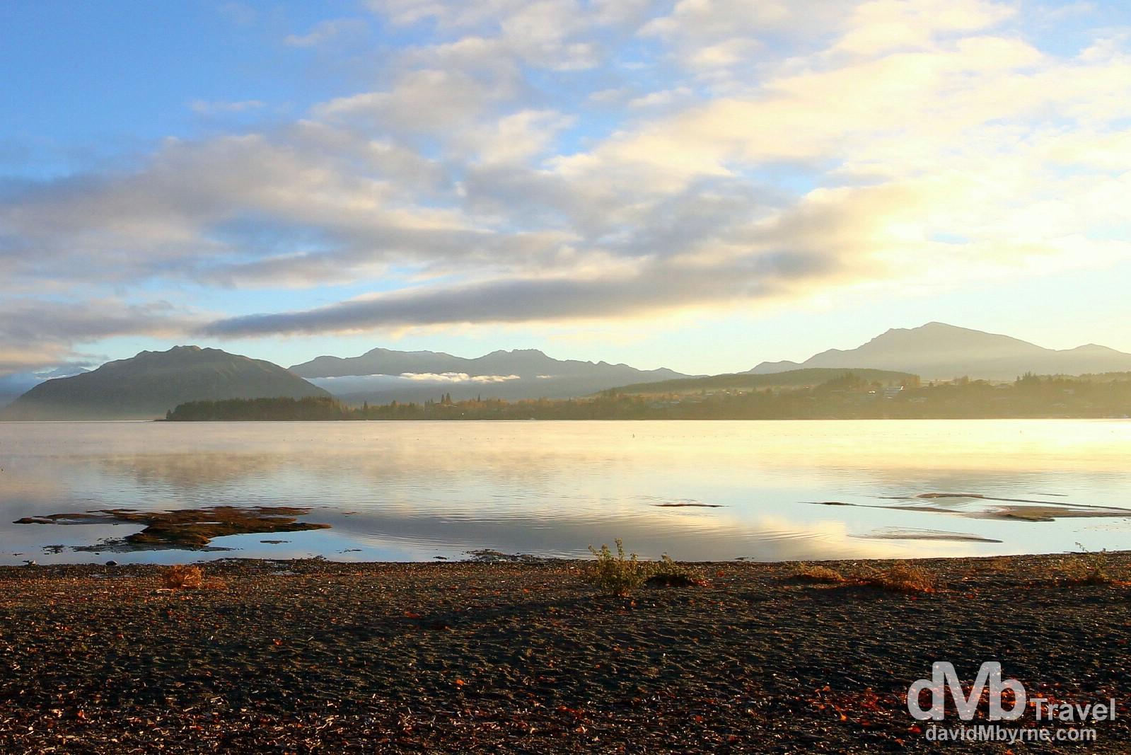 Intense sunrise light on Lake Wanaka, Wanaka, South Island, New Zealand. May 21st 2012.