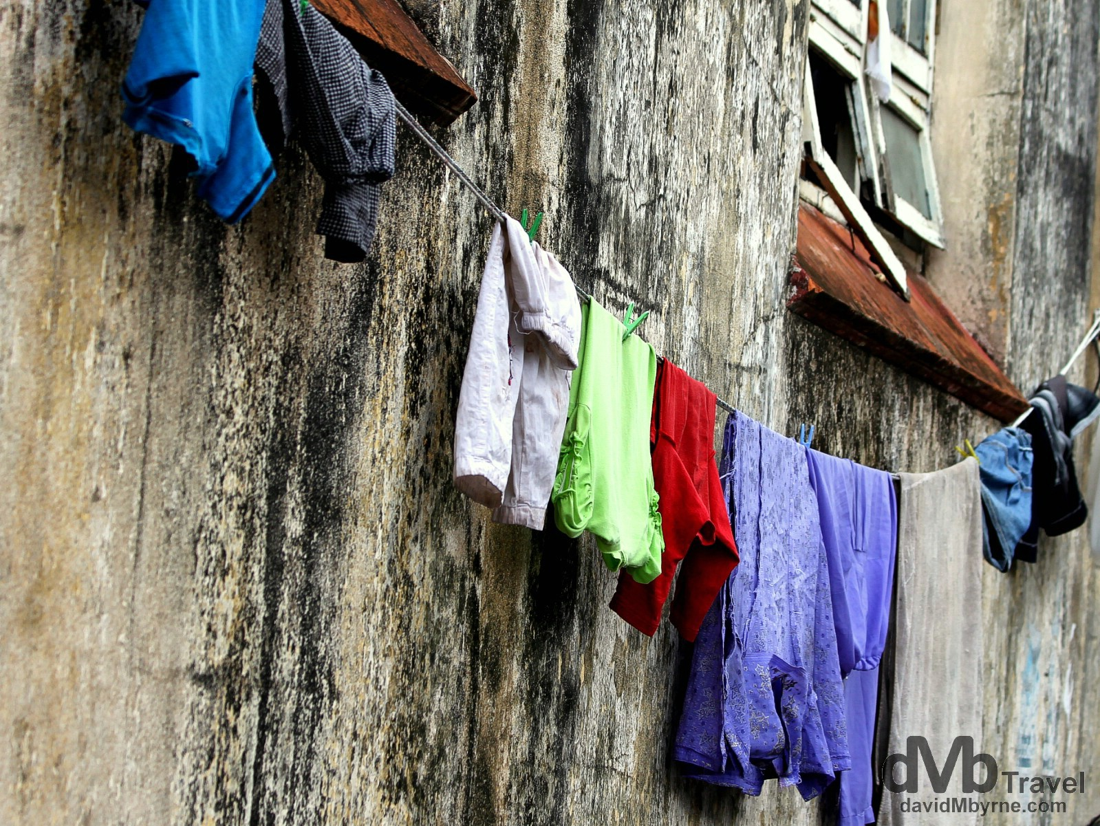 Laundry hanging outside a building in a lane of Galle's Fort, Galle, southern Sri Lanka. September 2nd 2012.