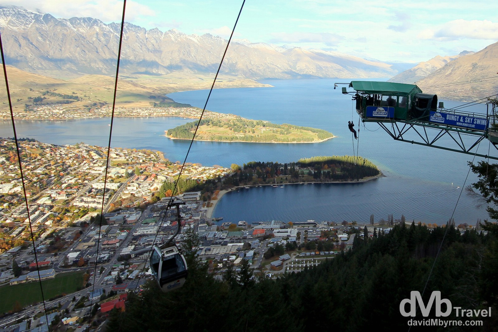 The Ledge Bungy as seen from The Skyline overlooking Queenstown, South Island, New Zealand. May 23rd 2012.