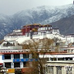 The Potala Palace as seen from the rooftop of the Jokhang Temple. Lhasa, Tibet. February 27th 2008.