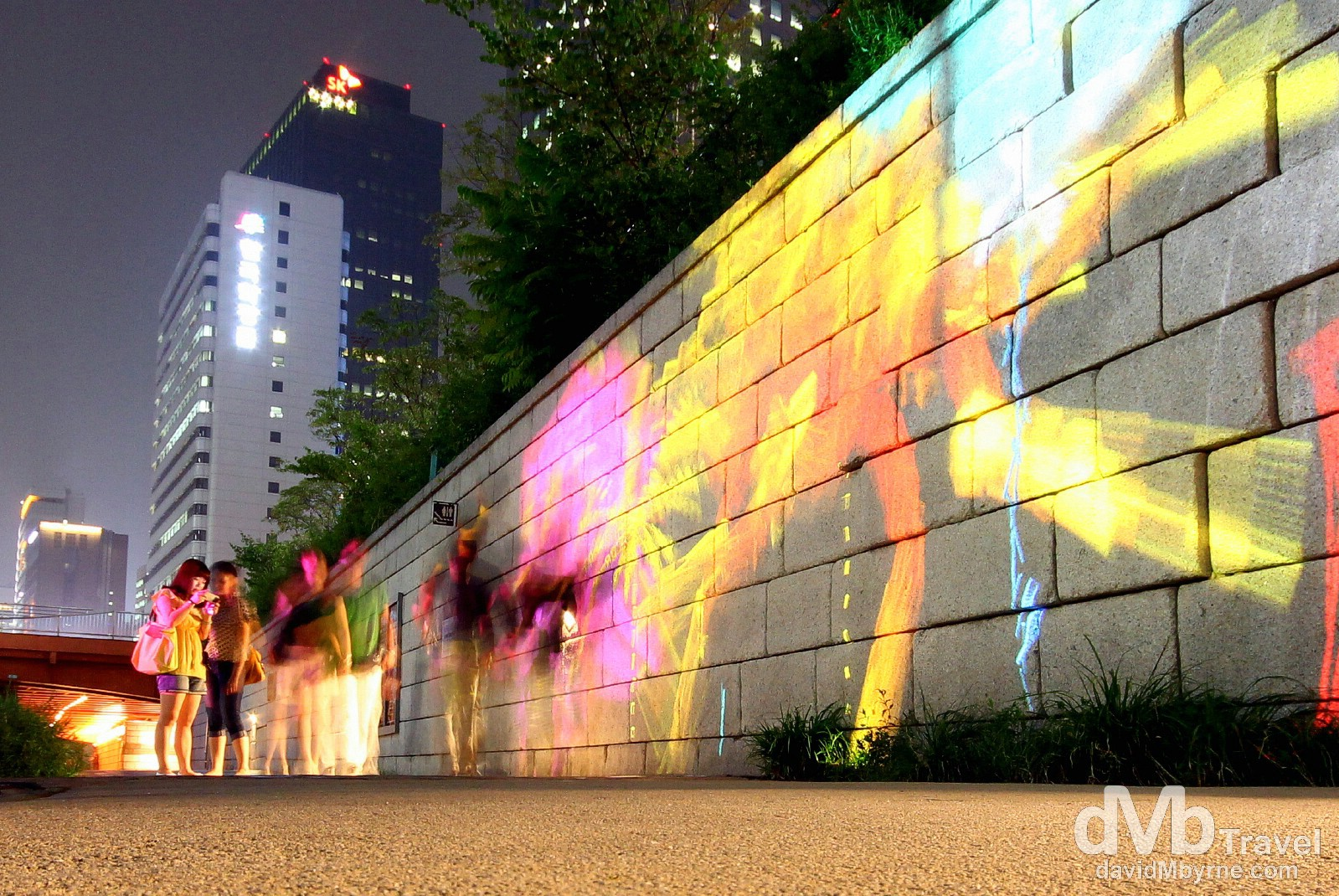 Light Show by the Cheonggyecheon Stream in Seoul, South Korea. July 12th 2012.