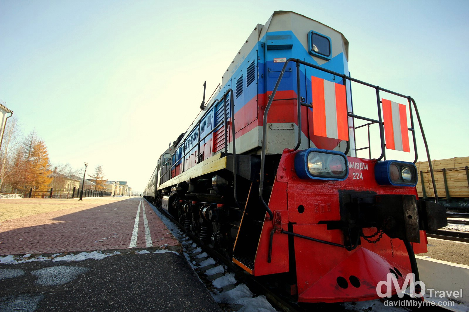 A locomotive in Naushki train station, the first stop in Russia on the east to west bound Trans Siberian route. Naushki, Russia. November 5th 2012.