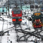 Locomotives sitting on the tracks in Tayga train station, Siberian Russia. November 12th 2012.
