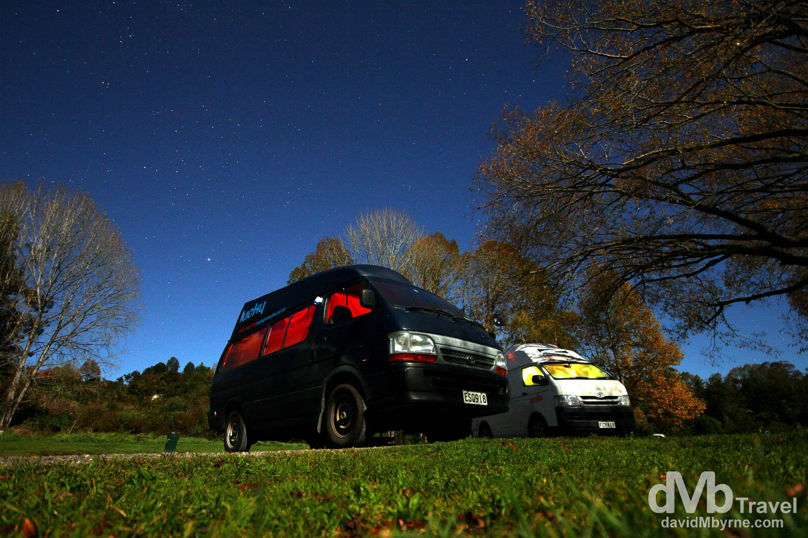 Home. My camper van by the Waikato River, Taupo, North Island, New Zealand. May 6th 2012.
