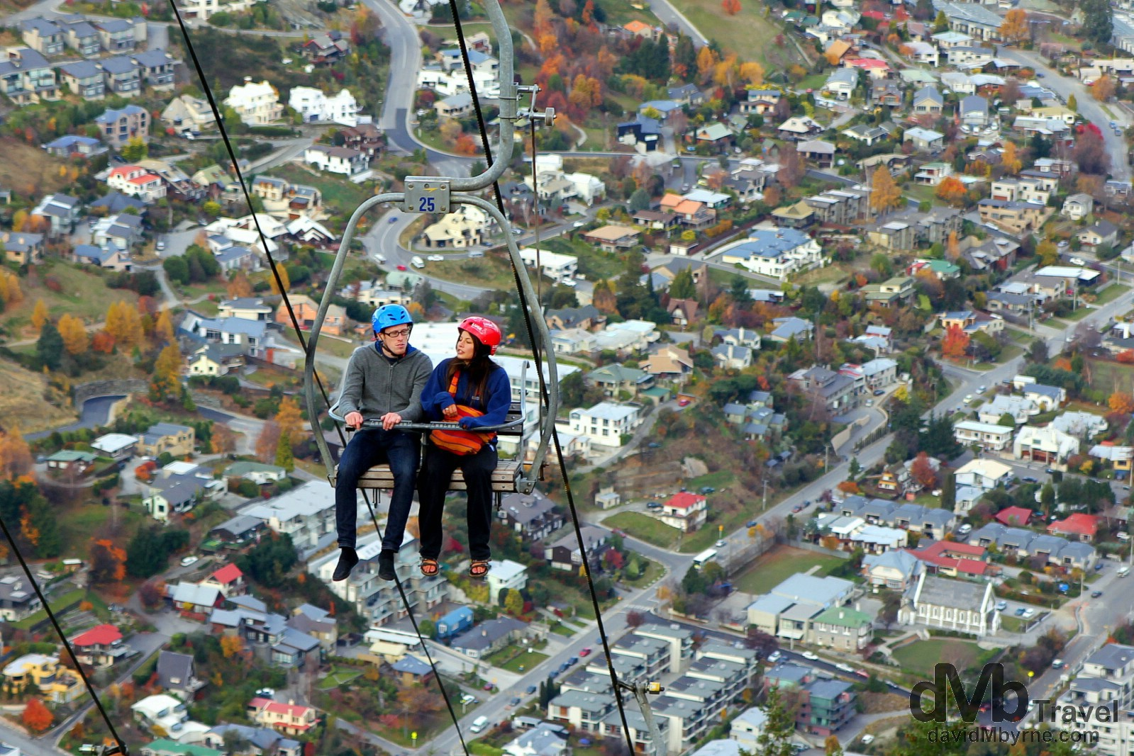 Patrons on The Luge chairlift on Bob's Peak, Queenstown, South Island, New Zealand. May 23rd 2012.
