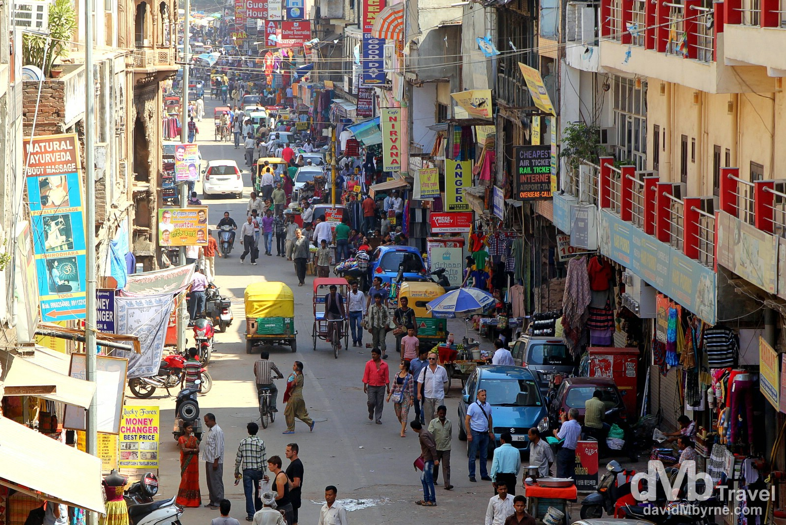A view down the Main Bazaar in the traveller hangout of Paharganj in Old Delhi, Delhi, India. October 8th 2012.
