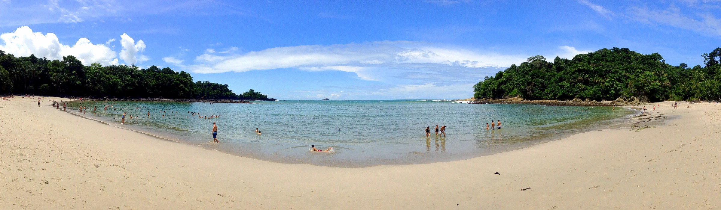 A panorama showing the grin of Playa Manuel Antonio of Parque Nacional Manuel Antonio, Costa Rica. June 26th 2013 (iPod) ***Click on image to view full screen. ***